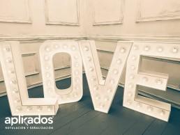 Letras Corpóreas Iluminadas sin frontal Love, Aplikados Rótulos Valencia